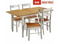 Ex display Chicago Extendable Solid Wood Table & 4 Chairs