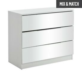 Ex display Sandon 3 Drawer Chest - White and Mirrored