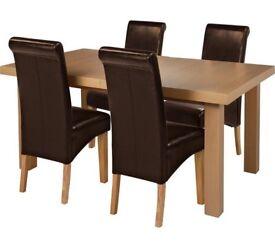 Ex display Wickham Ext Oak Veneer Table & 4 Chairs - Chocolate