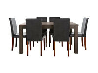 HOME Pemberton Oak Veneer Dining Table & 6 Chairs - Black