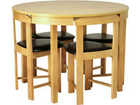 Ex display Hygena Alena Circular Solid Wood Table & 4 Chairs - Black