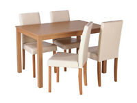 Fully assembled Elmdon Oak Effect Dining Table & 4 Chairs - Cream