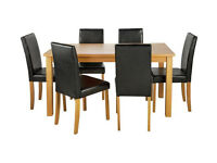 HOME Ashdon Solid Wood Table & 6 Mid Back Chairs - Black