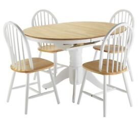Ex display Kentucky Ext Solid Wood Table & 4 Chairs - Two Tone