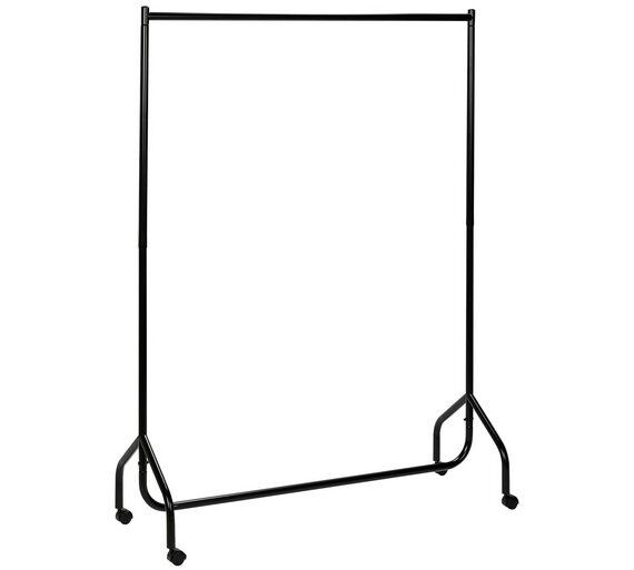 Clothes rail metal double sturdy with lockable wheels