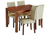 Ex-display Ashdon Solid Wood Table & 4 Mid Back Chairs - Cream