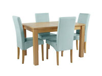 Collection Swanbourne Ext Oak Vnr Table & 4 Chairs -Duck Egg