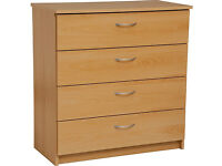 Cheval 4 Drawer Chest - Beech Effect - Damaged