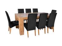 Heart of House Alston Oak Veneer Table & 8 Chairs - Black