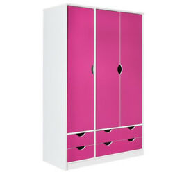 New Pagnell 3 Door 4 Drawer Wardrobe - Pink