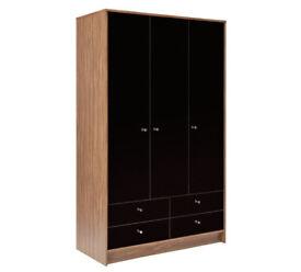 HOME Malibu 3 Door 4 Drawer Wardrobe - Black Gloss & Walnut