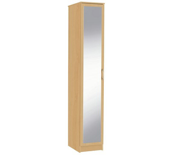 Cheval Single Mirrored Wardrobe - Beech Effect