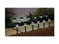 Set of 12 LED Black Solar Lights (for garden/outdoor use) for only £8
