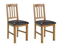 Collection Pair Of Solid Oak Slatted Chairs