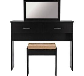Ex display Cheval Dressing Table, Stool & Mirror - Black