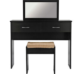 Cheval Dressing Table, Mirror and Stool - Black