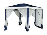 HOME 4m Hexagonal Garden Gazebo with Side Panels