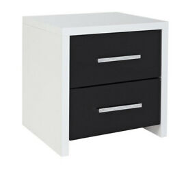Broadway 2 Drawer Bedside Chest - Black Gloss & White