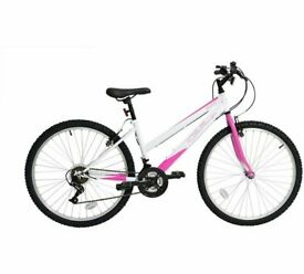 Ladies 26 inch challenger regent pink and white bike with shimano gears. only used once.