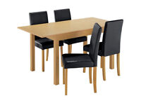 HOME Addingham Extendable Table and 4 Midback Chairs- Black