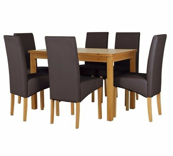 Ex display Lincoln Solid Wood Table & 6 Chairs - Chocolate