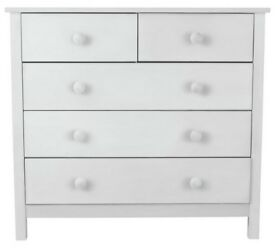 Ex Display Scandinavia 3+2 Drawer Chest Of Drawers - White