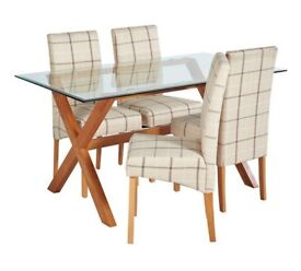 Ex Display Oakington Rec Glass Table & 4 Chairs - Checked