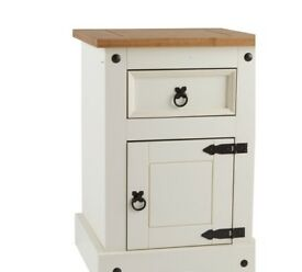 Ex Display Puerto Rico Bedside Chest - White & Pine