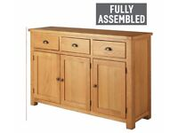 Ex display Heart of House Kent 3 Door 3 Drw Oak & Oak Veneer Sideboard