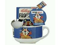 Kellogg's vintage Frosties Mug cup bow and Spoon Set gift present birthday sets new
