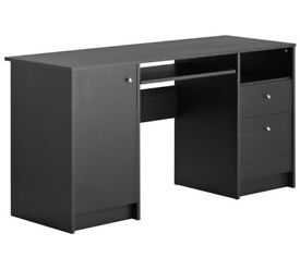 HOME Calgary Double Pedestal Desk with Filing Drawer - Black