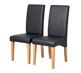 Home Pair of Skirted Dining Chairs - Black