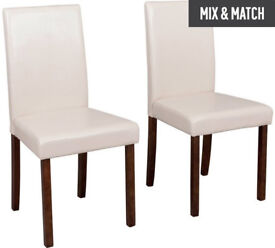HOME Pair of Leather Effect Mid Back Chairs - Cream
