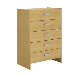 Ex display Capella 5 Drawer Chest - Oak Effect