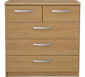 Ex-display Hallingford 3+2 Drawer Chest - Oak Effect