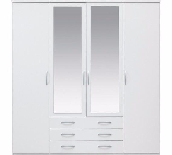 New Hallingford 4Dr 3 Drw Mirror Wardrobe - White