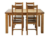 Ex display Arizona Solid Pine Dining Table & 4 chairs - Pine