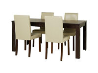 already built up Penley Walnut Ext Dining Table & 4 Chairs - Cream