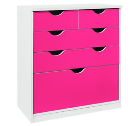 New Pagnell Deep 3+2 Drawer Chest - Pink