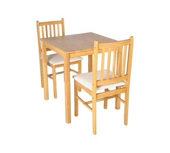 HOME Kendall Square Solid Wood Table & 2 Chairs - Cream