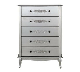 Collection Sophia 5 Drawer Chest - Silver
