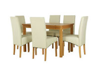 Fully assembled Lincoln Solid Wood Table & 6 Skirted Chairs - Charcoal