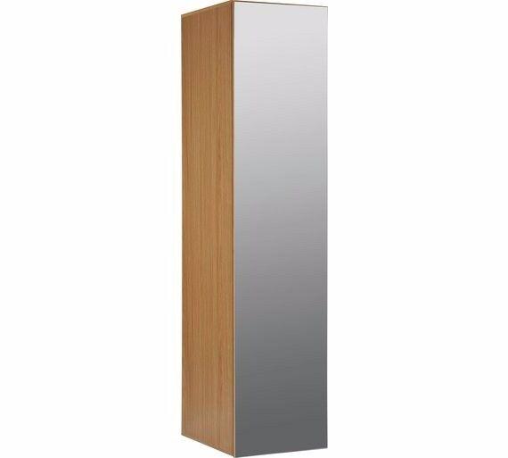 Hygena Atlas 1 Door Mirrored Tall Wardrobe - Oak Effect