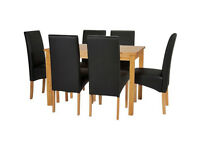 already built up Lincoln Solid Wood Table & 6 Skirted Chairs - Black