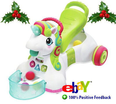 Ride On Unicorn Sit, Walk Fun Walker Baby Toy First Steps Lights Sounds Cuddly