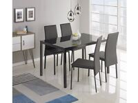 Hygena Lido Glass Dining Table & 4 Chairs - Black 841.