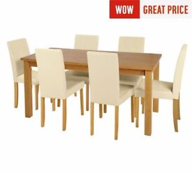 Ex Display Ashdon Solid Wood Table & 6 Mid Back Chairs - Cream