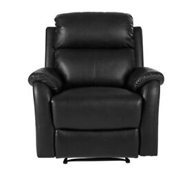 Tyler Leather Effect Manual Recliner Chair - Black