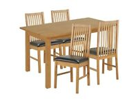 Ex display Ashdon Solid Wood Dining Table & 4 Paris Chairs - Black