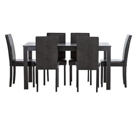 Ex display Elmdon Wood Effect Dining Table & 6 Chairs - Black